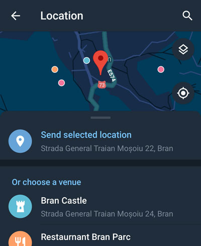 A shared location on a map in Night Mode on Telegram for Android.
