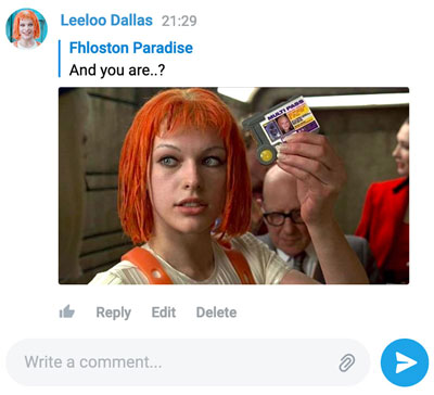 A screenshot of the Comments Widget featuring a photo sent as a reply to another comment